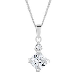 Simply Silver - Sterling silver cubic zirconia square drop pendant