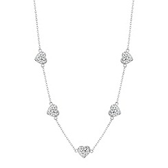 Simply Silver - Sterling silver pave crystal heart necklace