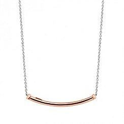Simply Silver - Sterling silver rose gold curved bar necklace