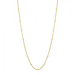 Simply Silver - Polished gold ball bead and fine mesh necklace