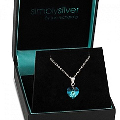 Simply Silver - Bermuda blue heart pendant necklace MADE WITH SWAROVSKI ELEMENTS