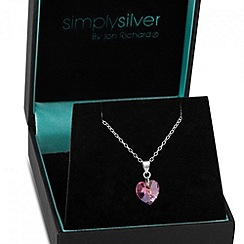 Simply Silver - Aurora borealis pink heart sterling silver drop necklace MADE WITH SWAROVSKI ELEMENTS