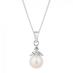 Simply Silver - Sterling silver pearl and mini leaf drop necklace