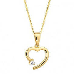 Simply Silver - Cubic zirconia set gold heart pendant necklace