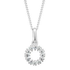 Simply Silver - Sterling silver cubic zirconia disc necklace