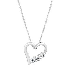 Simply Silver - Sterling silver trio cubic zirconia heart necklace
