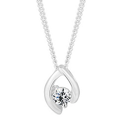 Simply Silver - Sterling silver cubic zirconia curve drop necklace