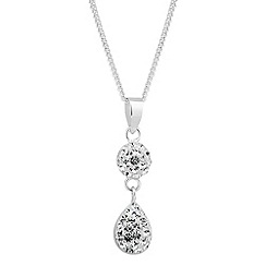 Simply Silver - Sterling silver pave peardrop link necklace