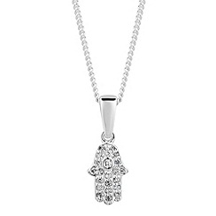 Simply Silver - Sterling silver cubic zirconia hamsa hand necklace