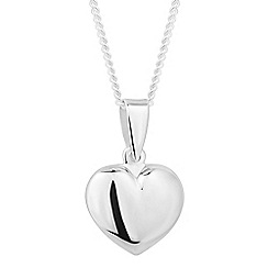 Simply Silver - Sterling silver polished heart pendant necklace