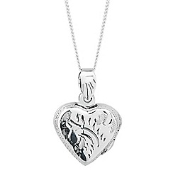 Simply Silver - Sterling silver patterned heart locket necklace