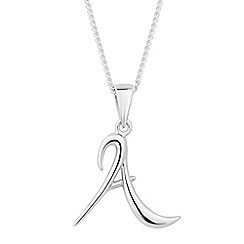 Simply Silver - Online exclusive sterling silver initial 'A' pendant necklace