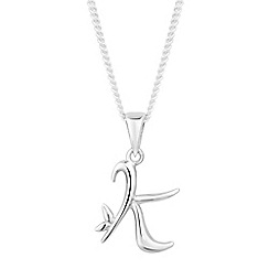 Simply Silver - Online exclusive sterling silver initial 'K' pendant necklace