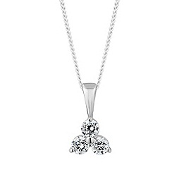Simply Silver - Sterling silver triple cubic zirconia pendant necklace