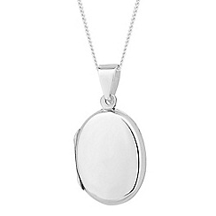 Simply Silver - Sterling silver polished oval locket necklace