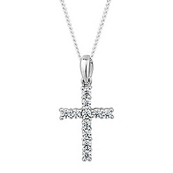 Simply Silver - Sterling silver cubic zirconia cross pendant necklace