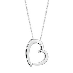Simply Silver - Sterling silver polished heart drop necklace