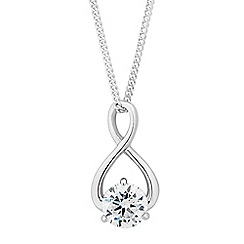 Simply Silver - Sterling silver cubic zirconia twist drop necklace