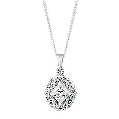 Simply Silver - Sterling silver square cubic zirconia oval drop necklace