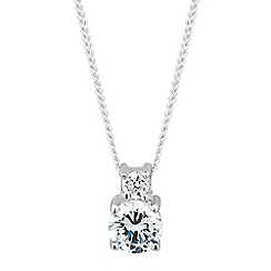 Simply Silver - Sterling silver double round cubic zirconia necklace