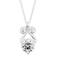 Simply Silver - Sterling silver triple cubic zirconia drop necklace