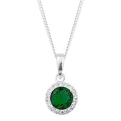 Simply Silver - Sterling silver round green cubic zirconia drop necklace