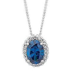 Simply Silver - Sterling silver blue oval cubic zirconia necklace