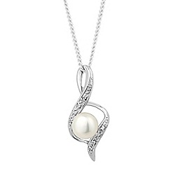 Simply Silver - Sterling silver cubic zirconia and pearl twist necklace