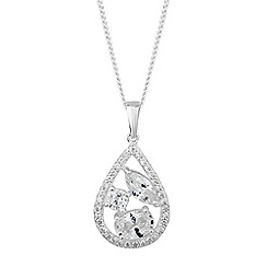 Simply Silver - Sterling silver mixed cubic zirconia peardrop necklace