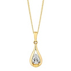 Simply Silver - Sterling silver cubic zirconia gold teardrop necklace