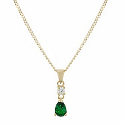 Simply Silver - Sterling silver green cubic zirconia gold peardrop necklace