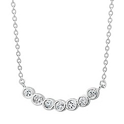 Simply Silver - Sterling silver cubic zirconia curved bar necklace