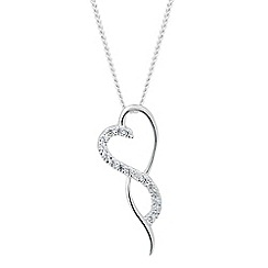 Simply Silver - Sterling silver cubic zirconia waved heart necklace
