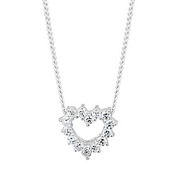 Simply Silver - Sterling silver cubic zirconia encased heart necklace