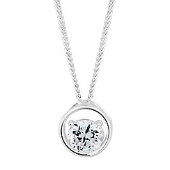Simply Silver - Sterling silver cubic zirconia surround drop necklace
