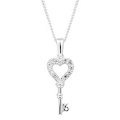 Simply Silver - Sterling silver cubic zirconia key drop necklace