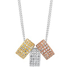Simply Silver - Sterling silver triple tone cubic zirconia disc necklace