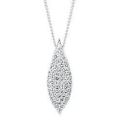 Simply Silver - Sterling silver cubic zirconia encased leaf necklace