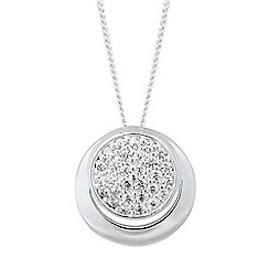 Simply Silver - Sterling silver cubic zirconia encased round drop necklace