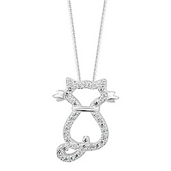 Simply Silver - Online exclusive sterling silver cat pendant necklace
