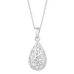 Simply Silver - Sterling silver filigree peardrop necklace