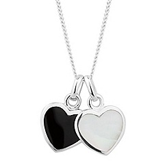 Simply Silver - Sterling silver black onyx and mother of pearl heart necklace