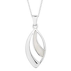 Simply Silver - Sterling silver mother of pearl navette drop necklace