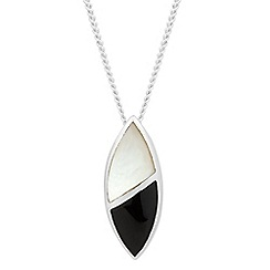 Simply Silver - Sterling silver black onyx and mother of pearl leaf necklace