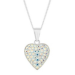Simply Silver - Sterling silver aurora borealis crystal heart necklace