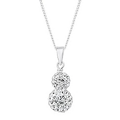 Simply Silver - Sterling silver crystal double ball drop necklace