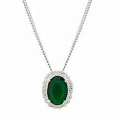Simply Silver - Sterling silver oval green cubic zirconia drop necklace