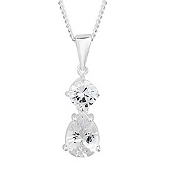 Simply Silver - Sterling silver cubic zirconia peardrop necklace