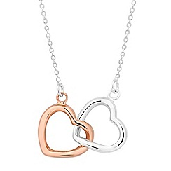 Simply Silver - Sterling silver two tone double heart necklace