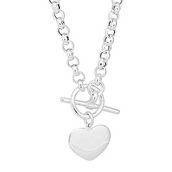 Simply Silver - Online exclusive sterling silver heart t bar necklace